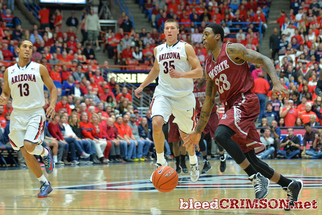 December 11, 2013: New Mexico State Aggies guard Daniel Mullings (23) drives to the basket in the first half in a game between No. 1 Arizona and New Mexico State at McKale Center in Tucson, Ariz. Arizona defeated New Mexico State 74-48.