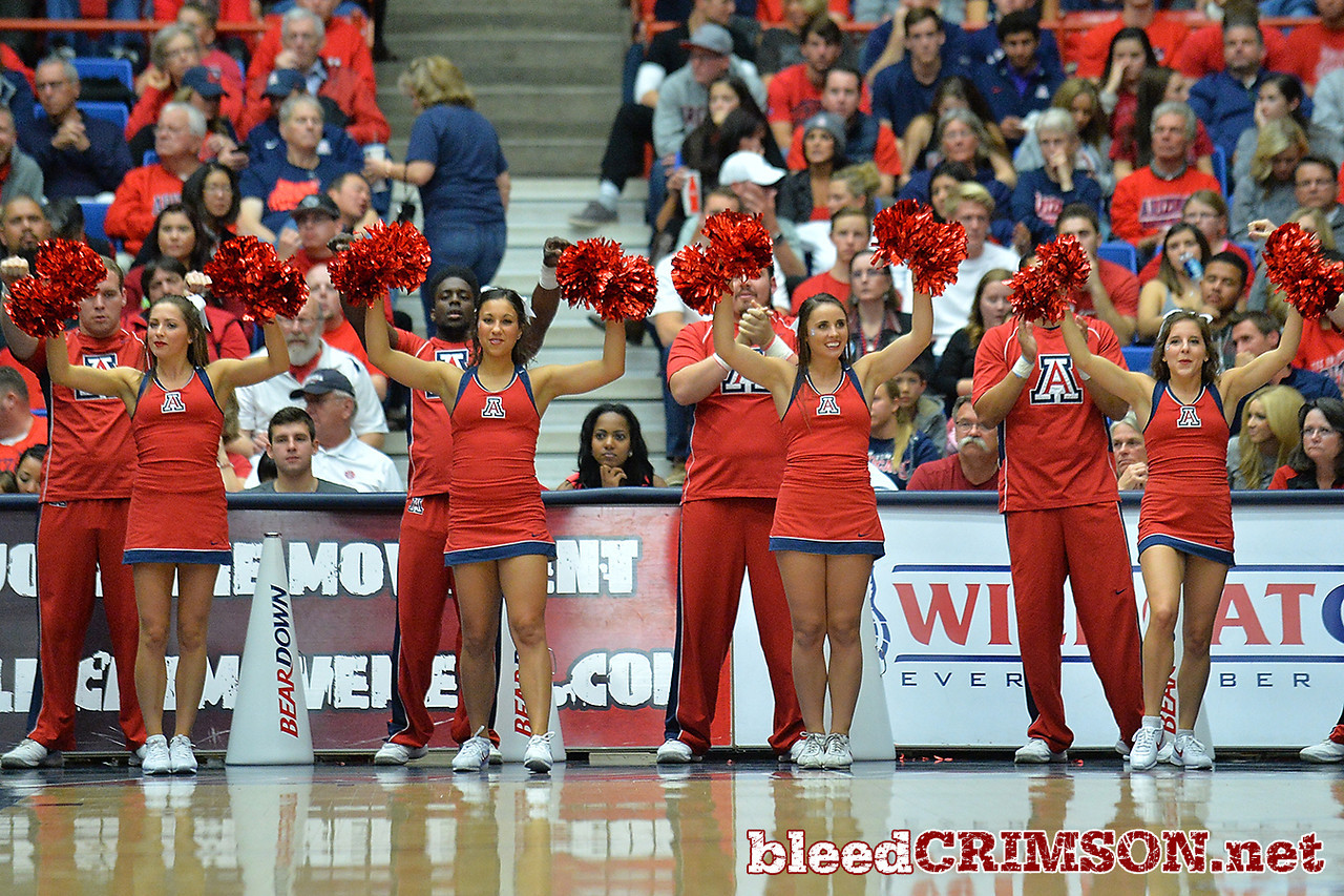 December 11, 2013: The Arizona Wildcats cheerleaders celebrate a Wildcat basket in a game between No. 1 Arizona and New Mexico State at McKale Center in Tucson, Ariz. Arizona defeated New Mexico State 74-48.