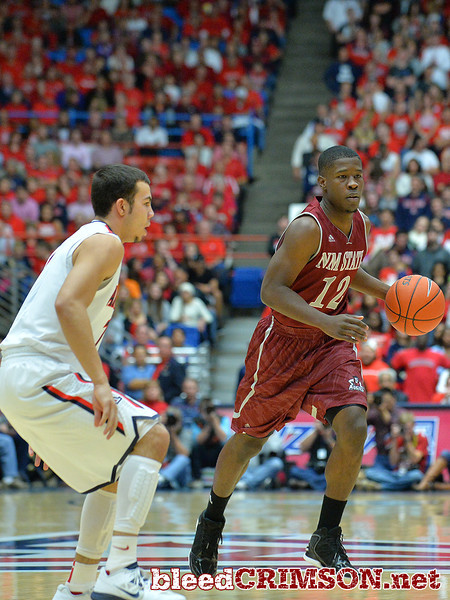 December 11, 2013: New Mexico State Aggies guard K.C. Ross-Miller (12) brings the ball up the court in a game between No. 1 Arizona and New Mexico State at McKale Center in Tucson, Ariz. Arizona defeated New Mexico State 74-48.