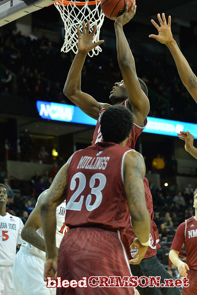 March 20, 2014: New Mexico State Aggies forward Renaldo Dixon (25) gets a rebound and layup during a second round game of the NCAA Division I Men's Basketball Championship between the 4-seed San Diego State Aztecs and the 13-seed New Mexico State Aggies at Spokane Arena in Spokane, Wash. San Diego State defeated New Mexico State 73-69 in overtime.