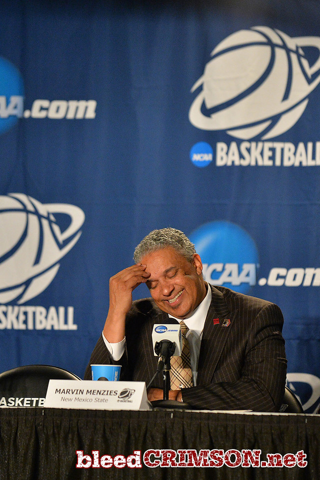 March 20, 2014: New Mexico State Aggies head coach Marvin Menzies talks to the media in the post game press conference after a second round game of the NCAA Division I Men's Basketball Championship between the 4-seed San Diego State Aztecs and the 13-seed New Mexico State Aggies at Spokane Arena in Spokane, Wash. San Diego State defeated New Mexico State 73-69 in overtime.