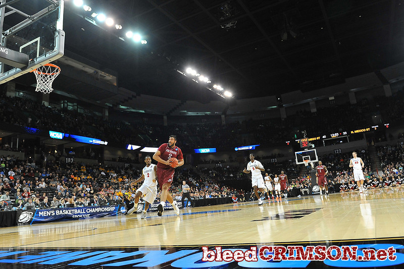 March 20, 2014: New Mexico State Aggies center Sim Bhullar (2) drives to the basket on a fast break during a second round game of the NCAA Division I Men's Basketball Championship between the 4-seed San Diego State Aztecs and the 13-seed New Mexico State Aggies at Spokane Arena in Spokane, Wash. San Diego State defeated New Mexico State 73-69 in overtime.
