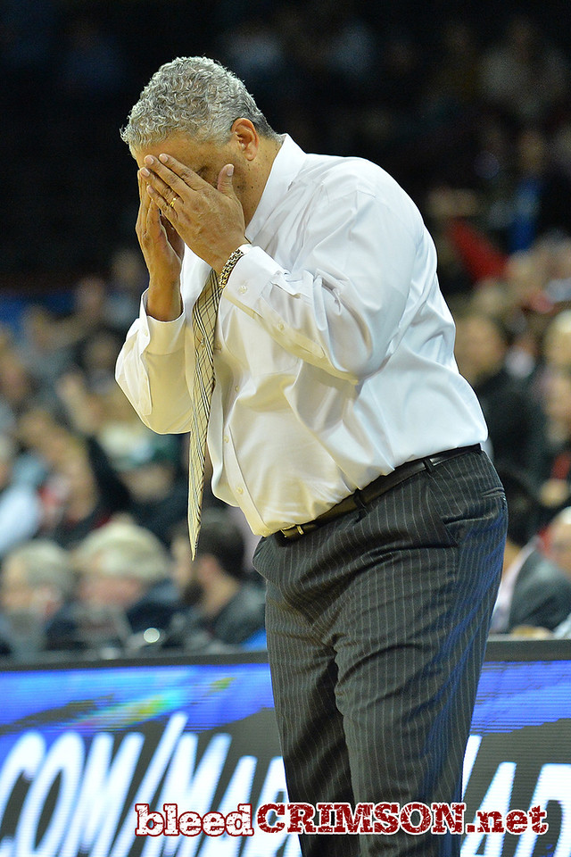 March 20, 2014: New Mexico State Aggies head coach Marvin Menzies reacts to the action in overtime during a second round game of the NCAA Division I Men's Basketball Championship between the 4-seed San Diego State Aztecs and the 13-seed New Mexico State Aggies at Spokane Arena in Spokane, Wash. San Diego State defeated New Mexico State 73-69 in overtime.