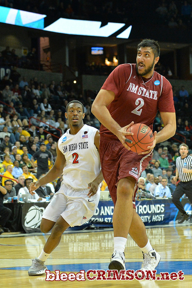 March 20, 2014: New Mexico State Aggies center Sim Bhullar (2) races toward the basket on a fast break during a second round game of the NCAA Division I Men's Basketball Championship between the 4-seed San Diego State Aztecs and the 13-seed New Mexico State Aggies at Spokane Arena in Spokane, Wash. San Diego State defeated New Mexico State 73-69 in overtime.