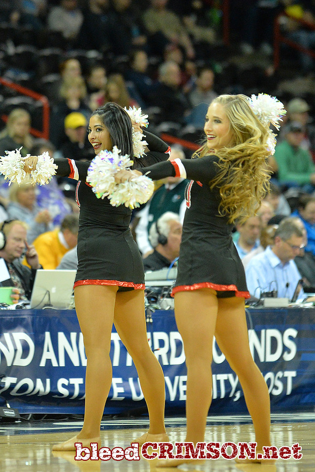 March 20, 2014: Members of the San Diego State Aztecs dance team during a second round game of the NCAA Division I Men's Basketball Championship between the 4-seed San Diego State Aztecs and the 13-seed New Mexico State Aggies at Spokane Arena in Spokane, Wash. San Diego State defeated New Mexico State 73-69 in overtime.