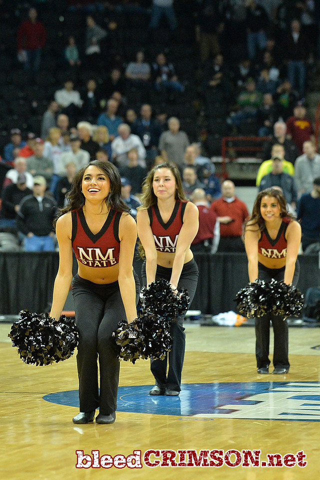 March 20, 2014: The New Mexico State Aggies Sundancers perform at halftime during a second round game of the NCAA Division I Men's Basketball Championship between the 4-seed San Diego State Aztecs and the 13-seed New Mexico State Aggies at Spokane Arena in Spokane, Wash. San Diego State defeated New Mexico State 73-69 in overtime.