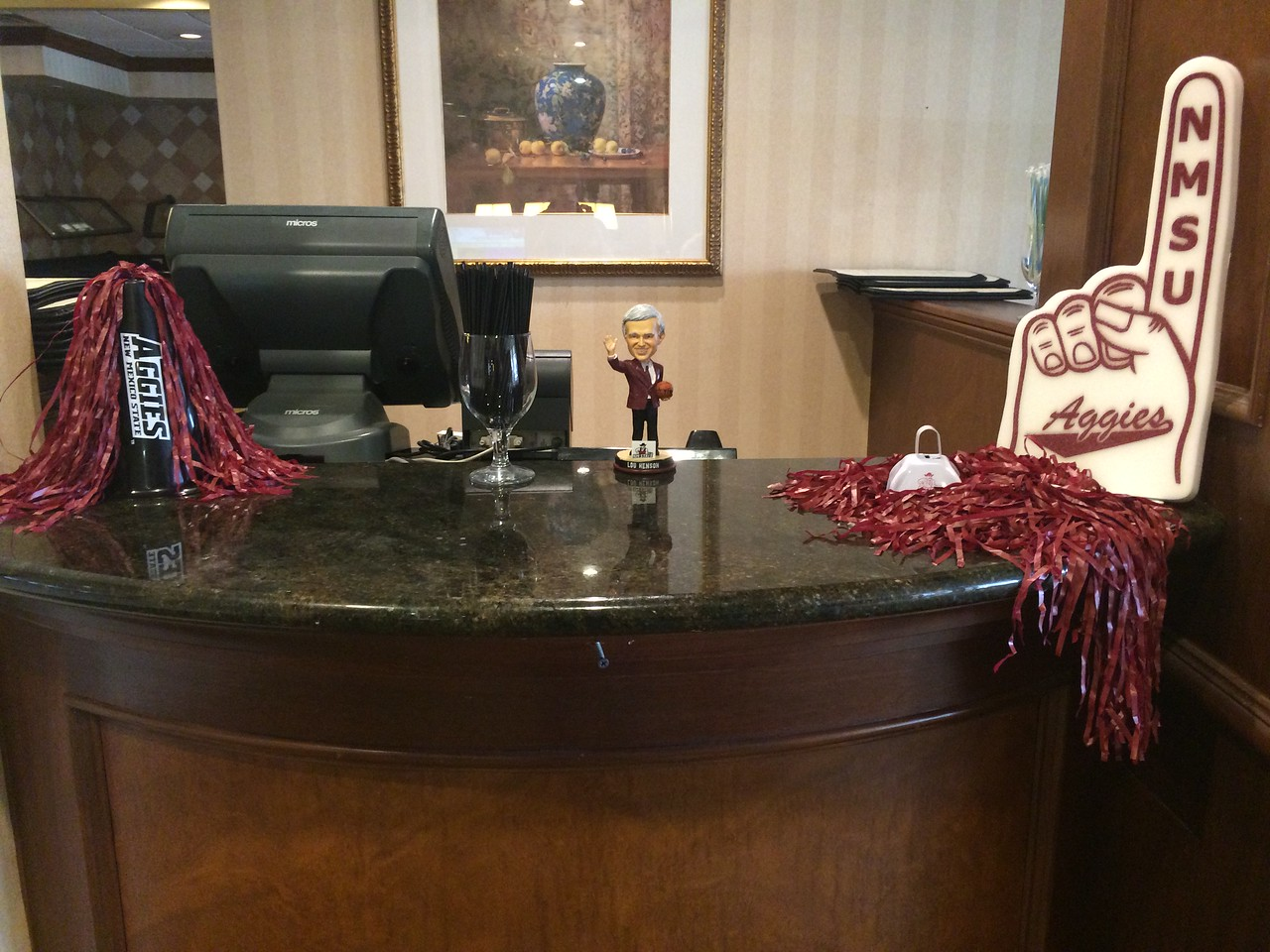 March 18, 2015: New Mexico State Aggies team hotel - Sheraton Omaha.