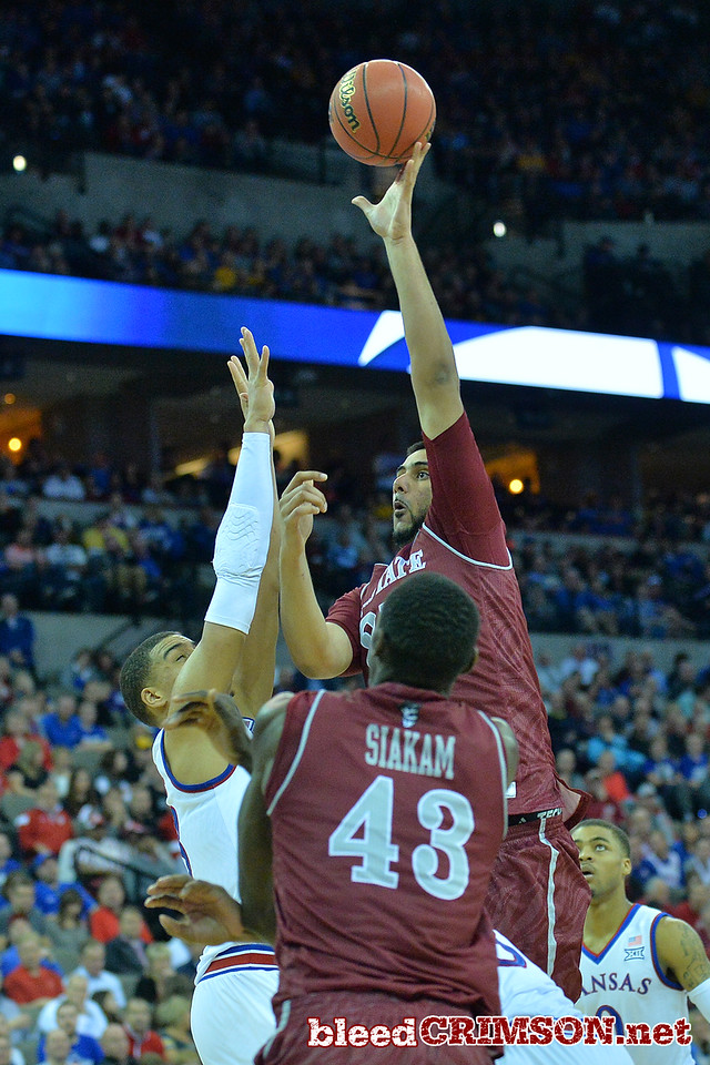 March 20, 2015: New Mexico State Aggies center Tanveer Bhullar (21) puts up a shot during a second round game between No. 15 New Mexico State and No. 15 Kansas in the 2015 NCAA Men's Basketball Championship Tournament at CenturyLink Center in Omaha, Neb.