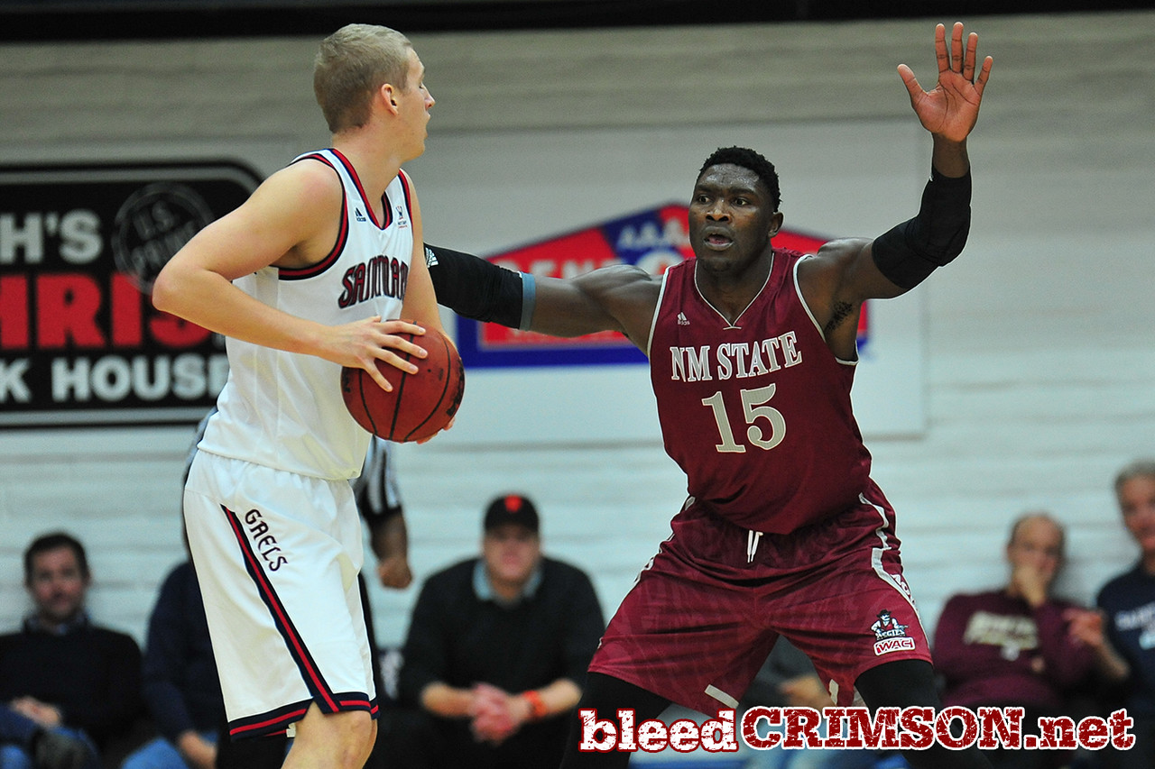 Nov. 18, 2014: New Mexico State Aggies center Tshilidzi Nephawe (15) plays defense during a game between New Mexico State vs. St. Mary's College in Moraga, Calif. in the ESPN College Hoops Tipoff Marathon. Saint Mary's defeated New Mexico State 83-71.