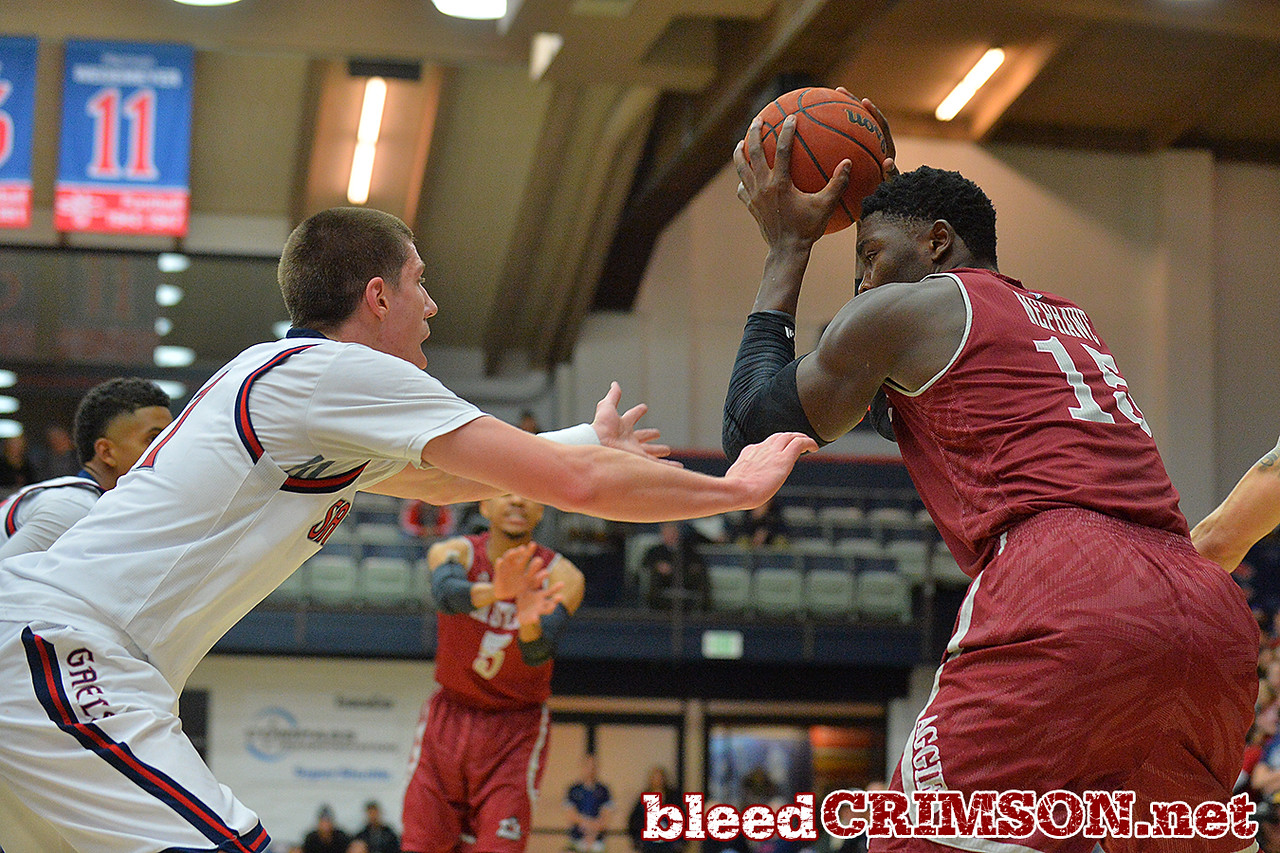 Nov. 18, 2014: New Mexico State Aggies center Tshilidzi Nephawe (15) makes a move in the post during a game between New Mexico State vs. St. Mary's College in Moraga, Calif. in the ESPN College Hoops Tipoff Marathon. Saint Mary's defeated New Mexico State 83-71.