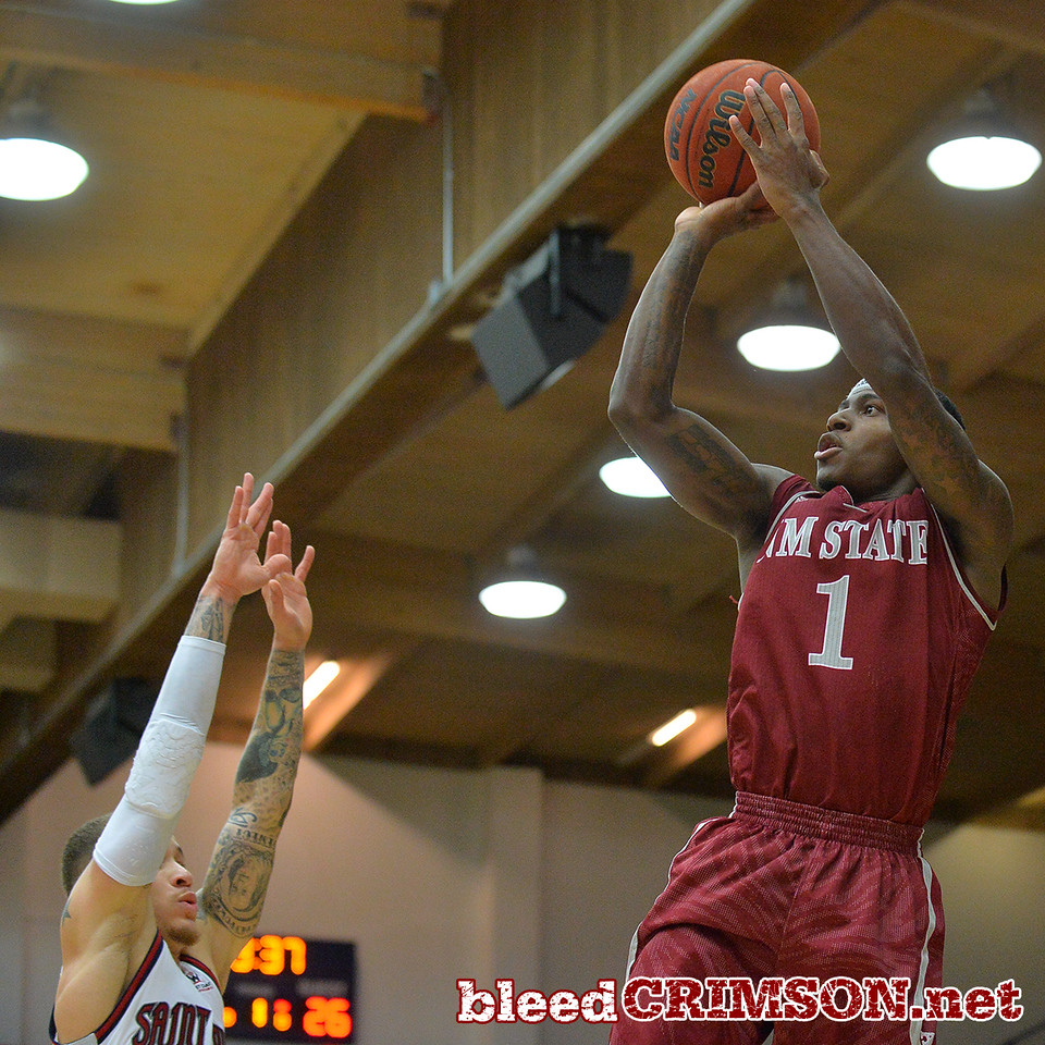 Nov. 18, 2014: New Mexico State Aggies guard DK Eldridge (1) puts up a shot during a game between New Mexico State vs. St. Mary's College in Moraga, Calif. in the ESPN College Hoops Tipoff Marathon. Saint Mary's defeated New Mexico State 83-71.