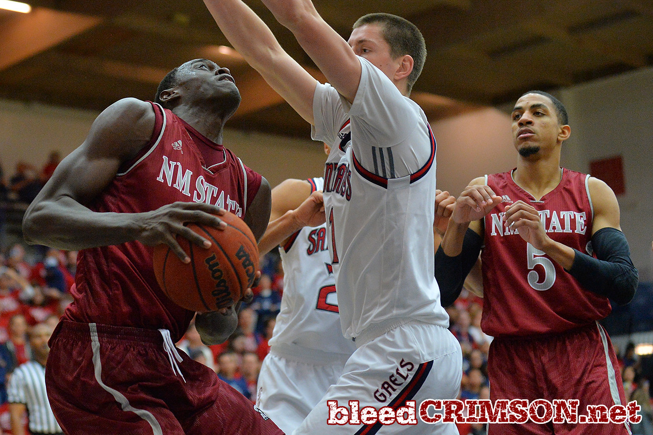 Nov. 18, 2014: New Mexico State Aggies forward Pascal Siakam (43) tries to go up for a basket during a game between New Mexico State vs. St. Mary's College in Moraga, Calif. in the ESPN College Hoops Tipoff Marathon. Saint Mary's defeated New Mexico State 83-71.