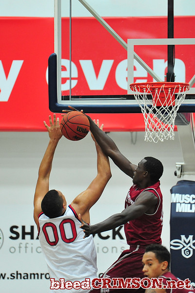 Nov. 18, 2014: New Mexico State Aggies forward Pascal Siakam (43) blocks a shot attempt from St. Mary's Gaels forward Brad Waldow (00) during a game between New Mexico State vs. St. Mary's College in Moraga, Calif. in the ESPN College Hoops Tipoff Marathon. Saint Mary's defeated New Mexico State 83-71.