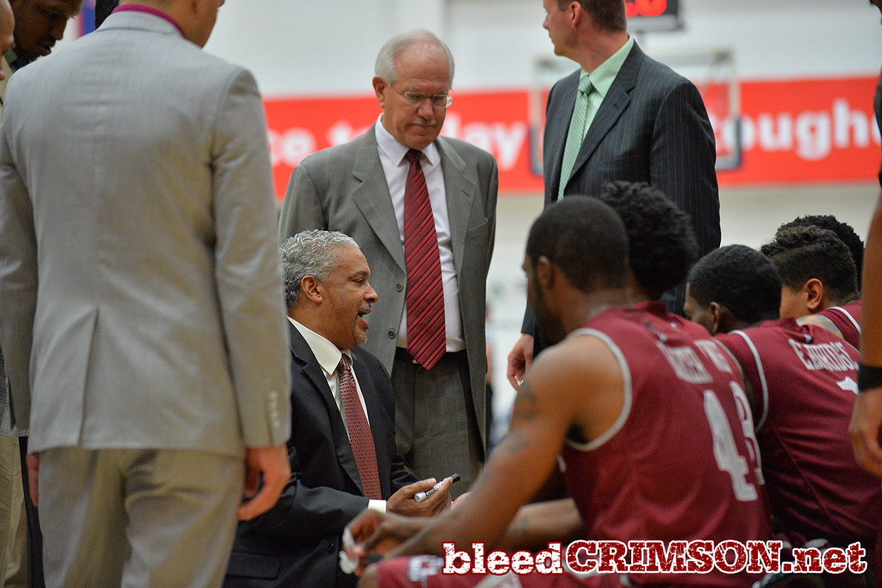 Nov. 18, 2014: New Mexico State Aggies head coach Marvin Menzies talks to his team during a timeout during a game between New Mexico State vs. St. Mary's College in Moraga, Calif. in the ESPN College Hoops Tipoff Marathon. Saint Mary's defeated New Mexico State 83-71.