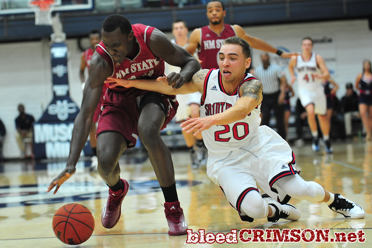 Nov. 18, 2014: New Mexico State Aggies forward Pascal Siakam (43) fights off St. Mary's Gaels guard Aaron Bright (20) for a loose ball during a game between New Mexico State vs. St. Mary's College in Moraga, Calif. in the ESPN College Hoops Tipoff Marathon. Saint Mary's defeated New Mexico State 83-71.