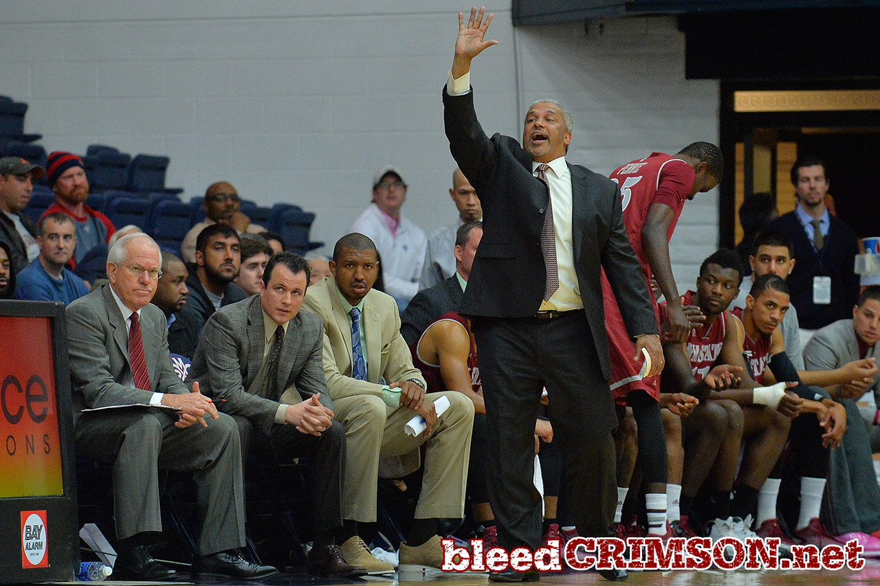 Nov. 18, 2014: New Mexico State Aggies head coach Marvin Menzies shouts instructions to his team during a game between New Mexico State vs. St. Mary's College in Moraga, Calif. in the ESPN College Hoops Tipoff Marathon. Saint Mary's defeated New Mexico State 83-71.