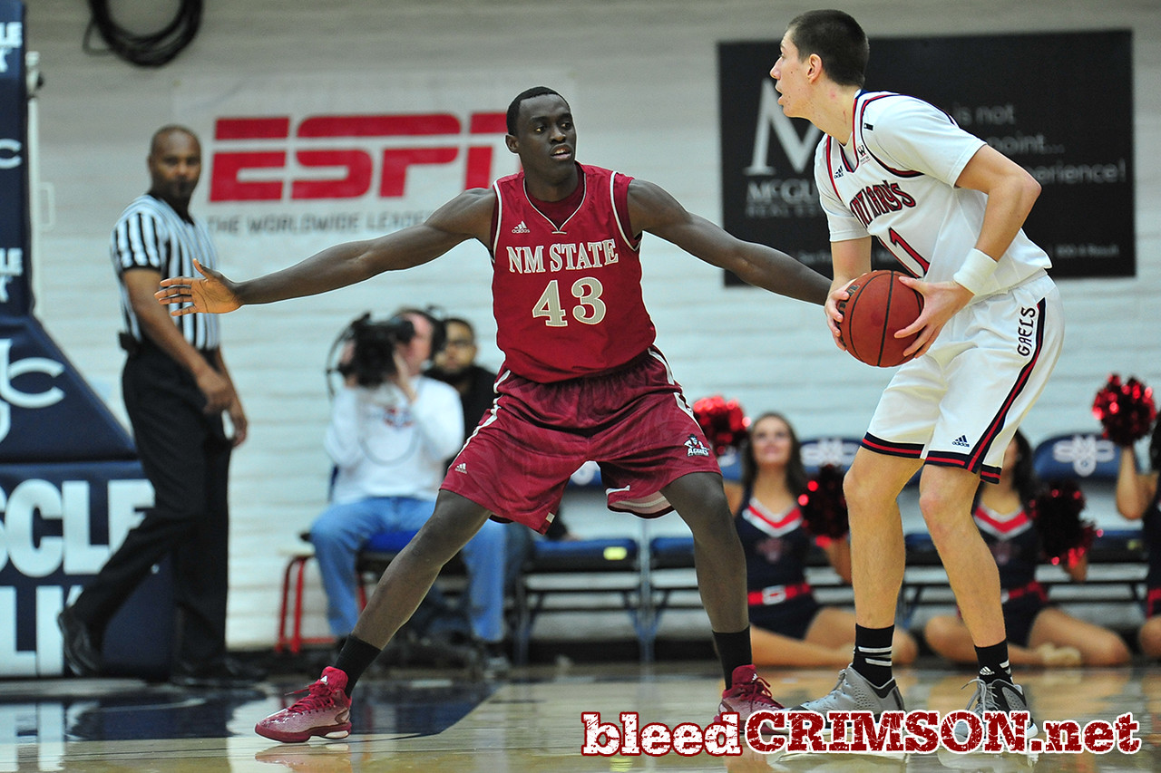 Nov. 18, 2014: New Mexico State Aggies forward Pascal Siakam (43) guards St. Mary's Gaels forward Dane Pineau (11) during a game between New Mexico State vs. St. Mary's College in Moraga, Calif. in the ESPN College Hoops Tipoff Marathon. Saint Mary's defeated New Mexico State 83-71.