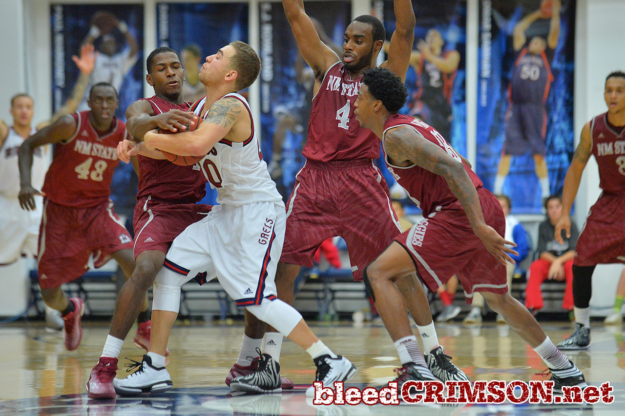 Nov. 18, 2014: New Mexico State Aggies guard DK Eldridge (1) guards St. Mary's Gaels guard Aaron Bright (20) during a game between New Mexico State vs. St. Mary's College in Moraga, Calif. in the ESPN College Hoops Tipoff Marathon. Saint Mary's defeated New Mexico State 83-71.