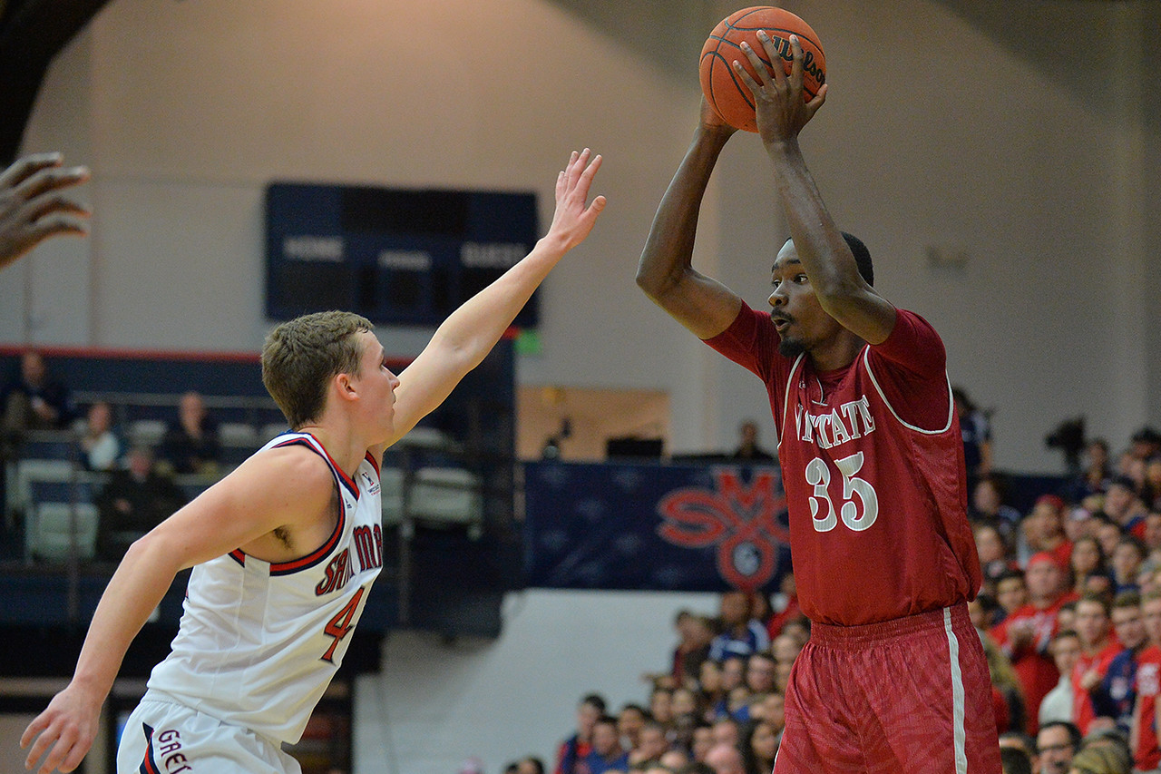 Nov. 18, 2014: New Mexico State Aggies guard Jalyn Pennie (35) surveys the defense during a game between New Mexico State vs. St. Mary's College in Moraga, Calif. in the ESPN College Hoops Tipoff Marathon. Saint Mary's defeated New Mexico State 83-71.