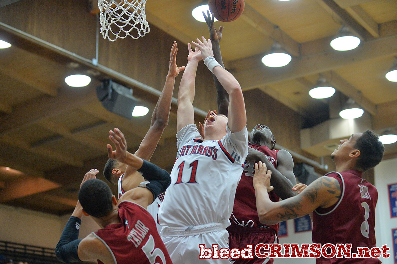 Nov. 18, 2014: St. Mary's Gaels forward Dane Pineau (11) battles for a rebound during a game between New Mexico State vs. St. Mary's College in Moraga, Calif. in the ESPN College Hoops Tipoff Marathon. Saint Mary's defeated New Mexico State 83-71.