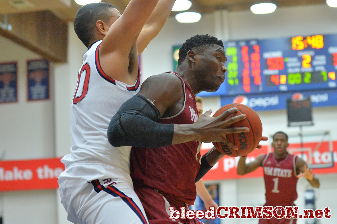 Nov. 18, 2014: New Mexico State Aggies center Tshilidzi Nephawe (15) battles St. Mary's Gaels forward Desmond Simmons (30) during a game between New Mexico State vs. St. Mary's College in Moraga, Calif. in the ESPN College Hoops Tipoff Marathon. Saint Mary's defeated New Mexico State 83-71.