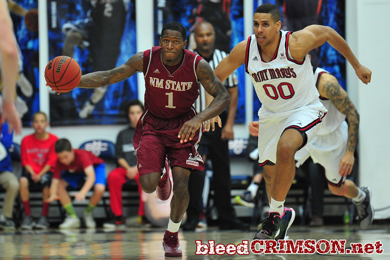Nov. 18, 2014: New Mexico State Aggies guard DK Eldridge (1) starts a fast break during a game between New Mexico State vs. St. Mary's College in Moraga, Calif. in the ESPN College Hoops Tipoff Marathon. Saint Mary's defeated New Mexico State 83-71.