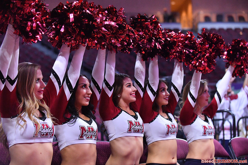 LAS VEGAS, NV - MARCH 08:  New Mexico State Aggies Sundancers perform during the team's quarterfinal game of the Western Athletic Conference basketball tournament against the Chicago State Cougars at the Orleans Arena in Las Vegas, Nevada. The Aggies won 97-70.