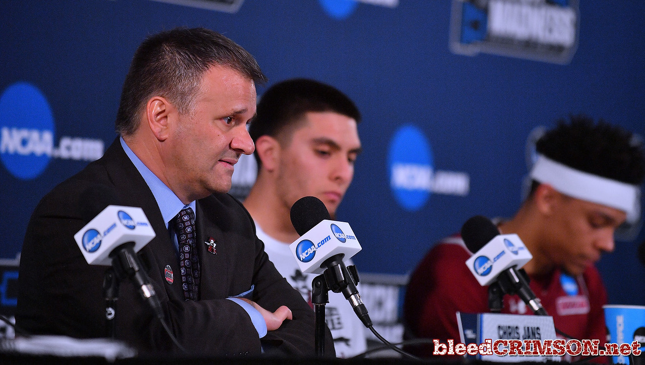 SAN DIEGO, CA - MARCH 16:  Head coach Chris Jans of the New Mexico State Aggies addresses the media after losing 79-68 to the Clemson Tigers during a first round game of the Men's NCAA Basketball Tournament at Viejas Arena in San Diego, California.  (Photo by Sam Wasson)
