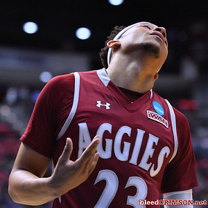 SAN DIEGO, CA - MARCH 16:  Zach Lofton #23 of the New Mexico State Aggies reacts after making a shot while getting fouled by the Clemson Tigers during a first round game of the Men's NCAA Basketball Tournament at Viejas Arena in San Diego, California. Clemson won 79-68.  (Photo by Sam Wasson)