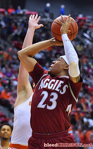 SAN DIEGO, CA - MARCH 16:  Zach Lofton #23 of the New Mexico State Aggies shoots against the Clemson Tigers during a first round game of the Men's NCAA Basketball Tournament at Viejas Arena in San Diego, California. Clemson won 79-68.  (Photo by Sam Wasson)