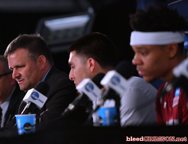 SAN DIEGO, CA - MARCH 16:  Head coach Chris Jans of the New Mexico State Aggies  addresses the media fter losing 79-68 to the Clemson Tigers during a first round game of the Men's NCAA Basketball Tournament at Viejas Arena in San Diego, California.  (Photo by Sam Wasson)