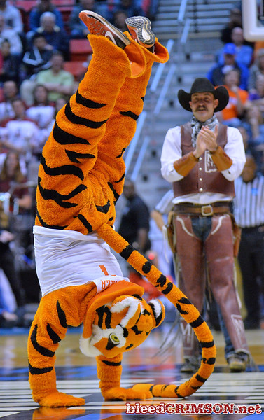 SAN DIEGO, CA - MARCH 16:  The Clemson Tigers mascot performs during a first round game of the Men's NCAA Basketball Tournament against the New Mexico State Aggies at Viejas Arena in San Diego, California. Clemson won 79-68.  (Photo by Sam Wasson)