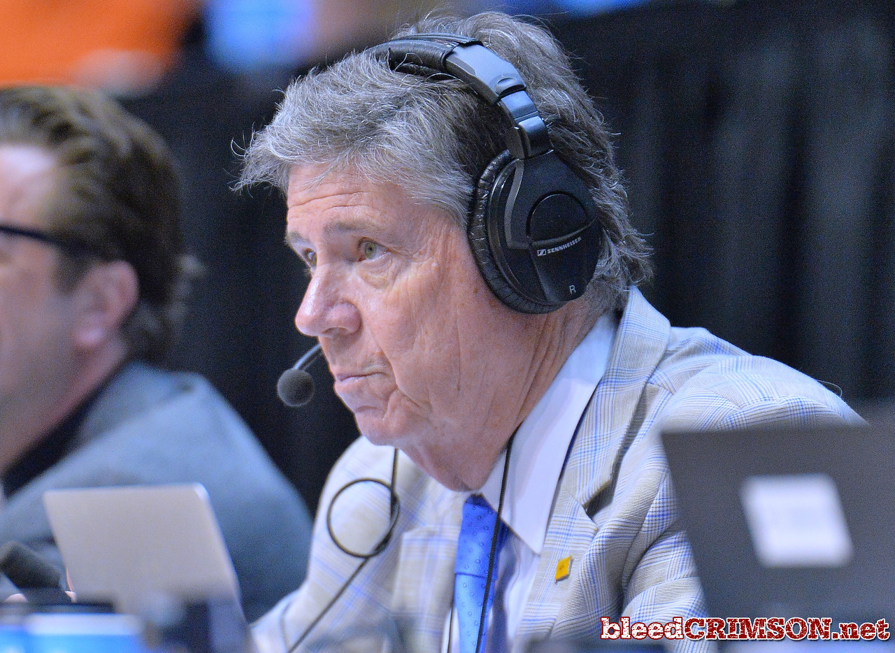 SAN DIEGO, CA - MARCH 16:  New Mexico State Aggies play-by-play announcer Jack Nixon calls the action during a first round game of the Men's NCAA Basketball Tournament against the Clemson Tigers at Viejas Arena in San Diego, California. Clemson won 79-68.  (Photo by Sam Wasson)
