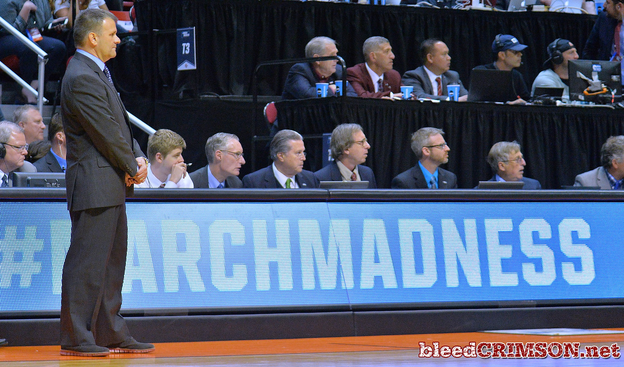 SAN DIEGO, CA - MARCH 16:  Head coach Chris Jans of the New Mexico State Aggies looks on during a first round game of the Men's NCAA Basketball Tournament against the Clemson Tigers at Viejas Arena in San Diego, California. Clemson won 79-68.  (Photo by Sam Wasson)