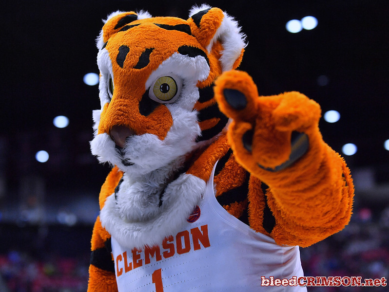 SAN DIEGO, CA - MARCH 16:  The Clemson Tigers mascot poses during a first round game of the Men's NCAA Basketball Tournament against the New Mexico State Aggies at Viejas Arena in San Diego, California. Clemson won 79-68.  (Photo by Sam Wasson)