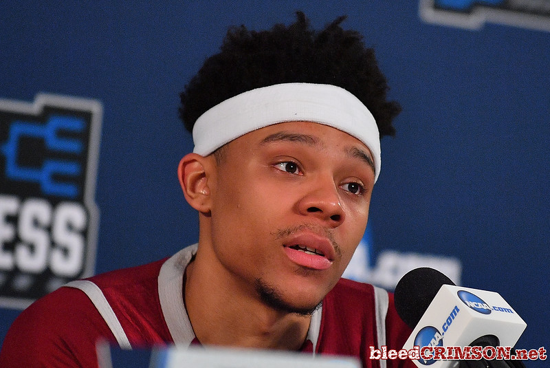 SAN DIEGO, CA - MARCH 16:  Zach Lofton #23 of the New Mexico State Aggies addresses the media after losing 79-68 to the Clemson Tigers during a first round game of the Men's NCAA Basketball Tournament at Viejas Arena in San Diego, California.  (Photo by Sam Wasson)