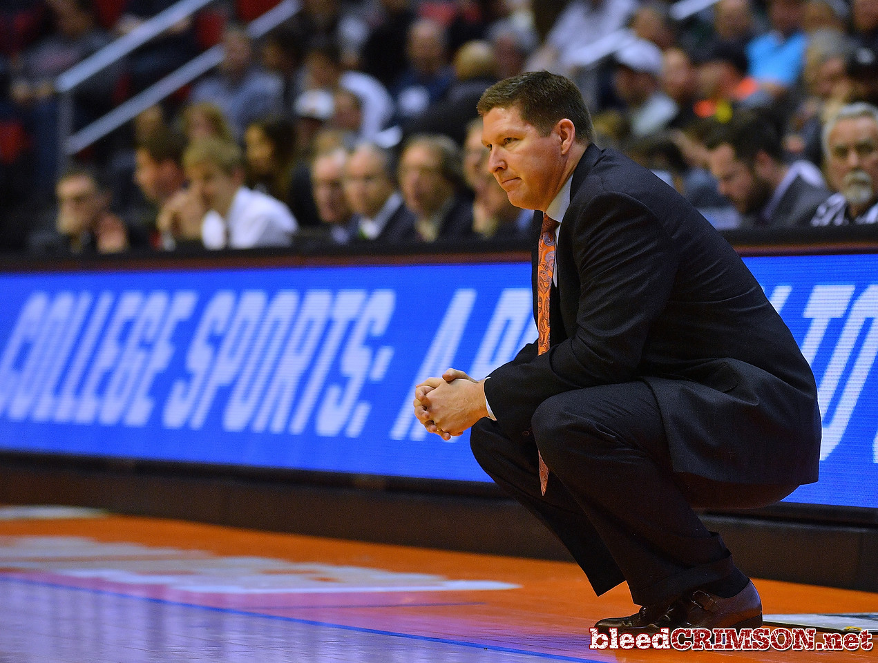 SAN DIEGO, CA - MARCH 16:  Head coach Brad Brownell of the Clemson Tigers looks on during a first round game of the Men's NCAA Basketball Tournament against the New Mexico State Aggies at Viejas Arena in San Diego, California. Clemson won 79-68.  (Photo by Sam Wasson)