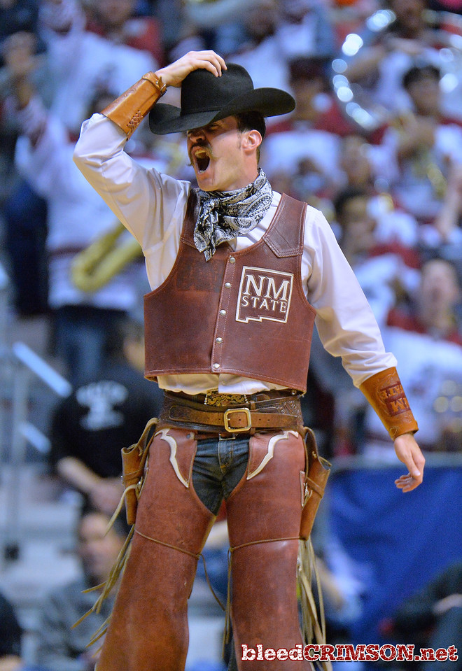 SAN DIEGO, CA - MARCH 16:  New Mexico State Aggies mascot Pistol Pete performs during a first round game of the Men's NCAA Basketball Tournament against the Clemson Tigers at Viejas Arena in San Diego, California. Clemson won 79-68.  (Photo by Sam Wasson)