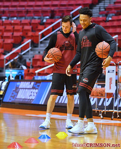 SAN DIEGO, CA - MARCH 15:  Zach Lofton (R) #23 of the New Mexico State Aggies practices during the open practice session during media day of the Men's NCAA Basketball Tournament - San Diego - Practice Sessions at Viejas Arena in San Diego, California.  (Photo by Sam Wasson/bleedCrimson.net)