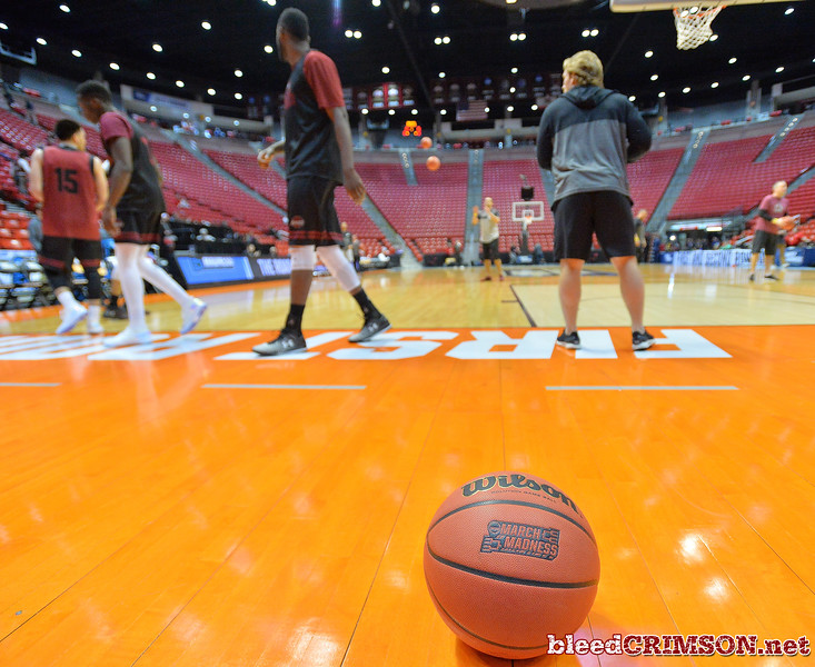 SAN DIEGO, CA - MARCH 15:  The New Mexico State Aggies practice during the open practice session during media day of the Men's NCAA Basketball Tournament - San Diego - Practice Sessions at Viejas Arena in San Diego, California.  (Photo by Sam Wasson/bleedCrimson.net)