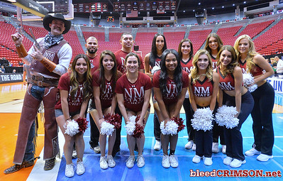 SAN DIEGO, CA - MARCH 15:  The New Mexico State Aggies, Sundancers and mascot Pistol Pete pose during the open practice session during media day of the Men's NCAA Basketball Tournament - San Diego - Practice Sessions at Viejas Arena in San Diego, California.  (Photo by Sam Wasson/bleedCrimson.net)