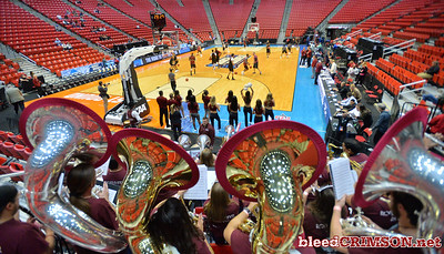 SAN DIEGO, CA - MARCH 15:  The New Mexico State Aggies pep band the Roadrunner Revue performs during the open practice session during media day of the Men's NCAA Basketball Tournament - San Diego - Practice Sessions at Viejas Arena in San Diego, California.  (Photo by Sam Wasson/bleedCrimson.net)