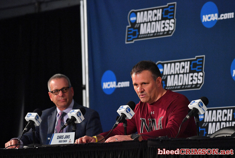 SAN DIEGO, CA - MARCH 15:  Head coach Chris Jans of the New Mexico State Aggies addresses the media during media day of the Men's NCAA Basketball Tournament - San Diego - Practice Sessions at Viejas Arena in San Diego, California.  (Photo by Sam Wasson/bleedCrimson.net)