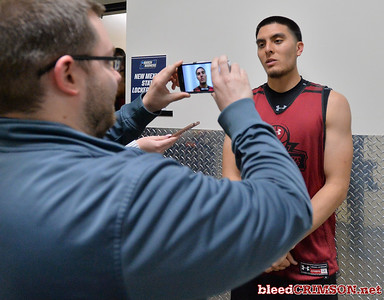 SAN DIEGO, CA - MARCH 15:  Joe Garza #15 of the New Mexico State Aggies addresses the media during media day of the Men's NCAA Basketball Tournament - San Diego - Practice Sessions at Viejas Arena in San Diego, California.  (Photo by Sam Wasson/bleedCrimson.net)