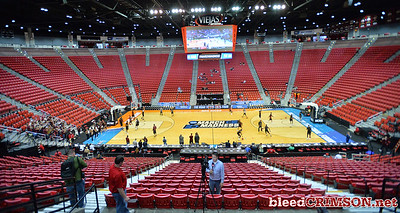 SAN DIEGO, CA - MARCH 15:  The New Mexico State Aggies during the open practice session during media day of the Men's NCAA Basketball Tournament - San Diego - Practice Sessions at Viejas Arena in San Diego, California.  (Photo by Sam Wasson/bleedCrimson.net)