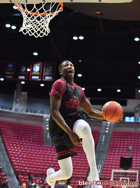 SAN DIEGO, CA - MARCH 15:  Sidy N'Dir #13 of the New Mexico State Aggies practices during the open practice session during media day of the Men's NCAA Basketball Tournament - San Diego - Practice Sessions at Viejas Arena in San Diego, California.  (Photo by Sam Wasson/bleedCrimson.net)