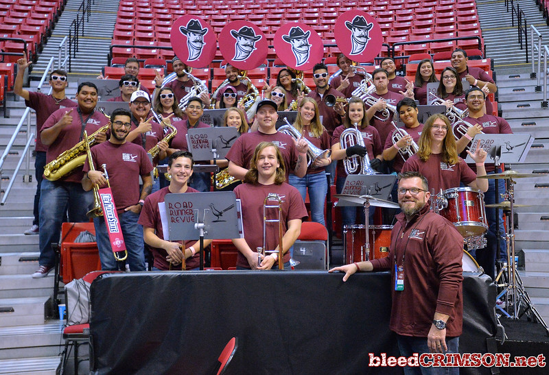 SAN DIEGO, CA - MARCH 15:  The New Mexico State Aggies pep band the Roadrunner Revue poses for a photo during the open practice session during media day of the Men's NCAA Basketball Tournament - San Diego - Practice Sessions at Viejas Arena in San Diego, California.  (Photo by Sam Wasson/bleedCrimson.net)