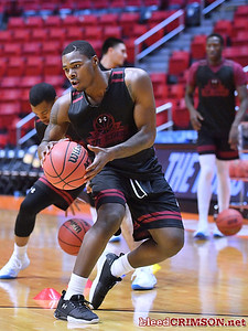 SAN DIEGO, CA - MARCH 15:  Keyon Jones #0 of the New Mexico State Aggies practices during the open practice session during media day of the Men's NCAA Basketball Tournament - San Diego - Practice Sessions at Viejas Arena in San Diego, California.  (Photo by Sam Wasson/bleedCrimson.net)