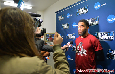 SAN DIEGO, CA - MARCH 15:  Shunn Buchanan #1 of the New Mexico State Aggies addresses the media during media day of the Men's NCAA Basketball Tournament - San Diego - Practice Sessions at Viejas Arena in San Diego, California.  (Photo by Sam Wasson/bleedCrimson.net)