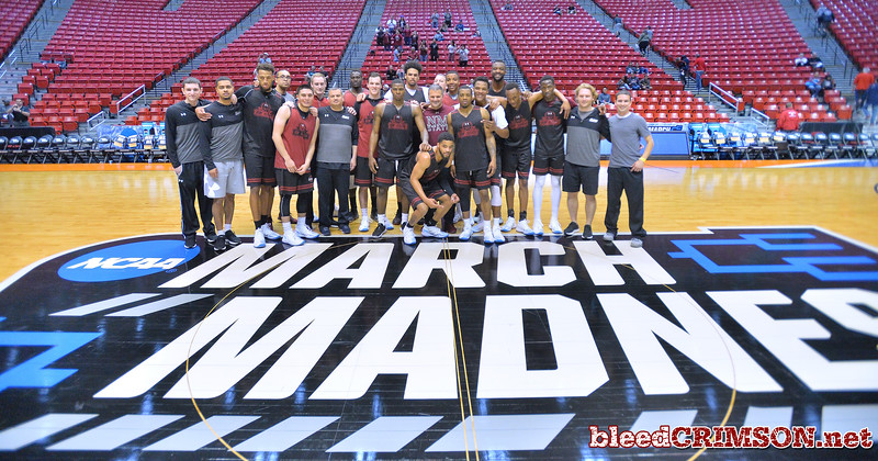 SAN DIEGO, CA - MARCH 15:  The New Mexico State Aggies pose for a photo during the open practice session during media day of the Men's NCAA Basketball Tournament - San Diego - Practice Sessions at Viejas Arena in San Diego, California.  (Photo by Sam Wasson/bleedCrimson.net)